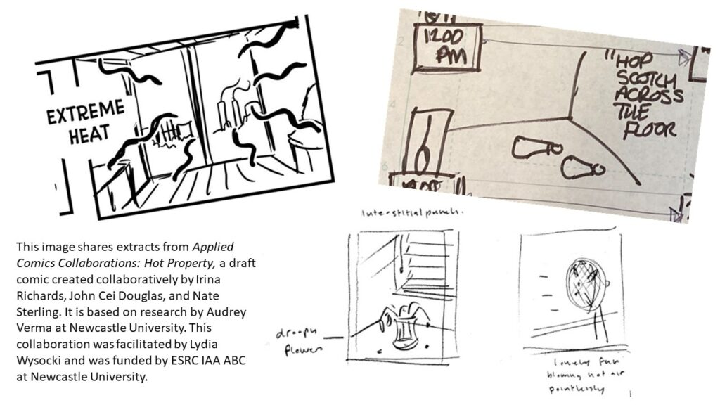 three comics extracts from 'Hot Property' collaboration
