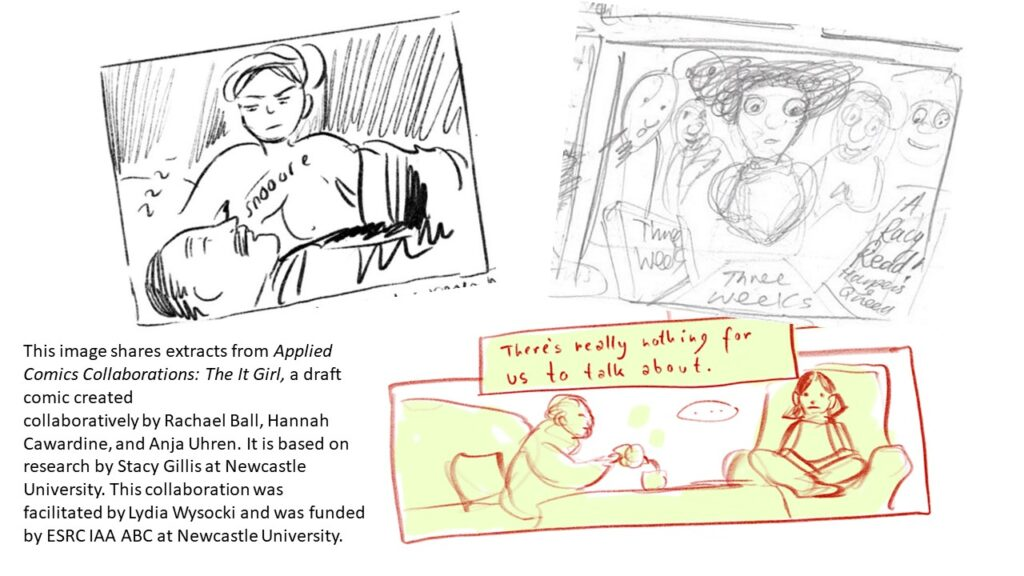 3 comics panels from project ACC: The It Girl
